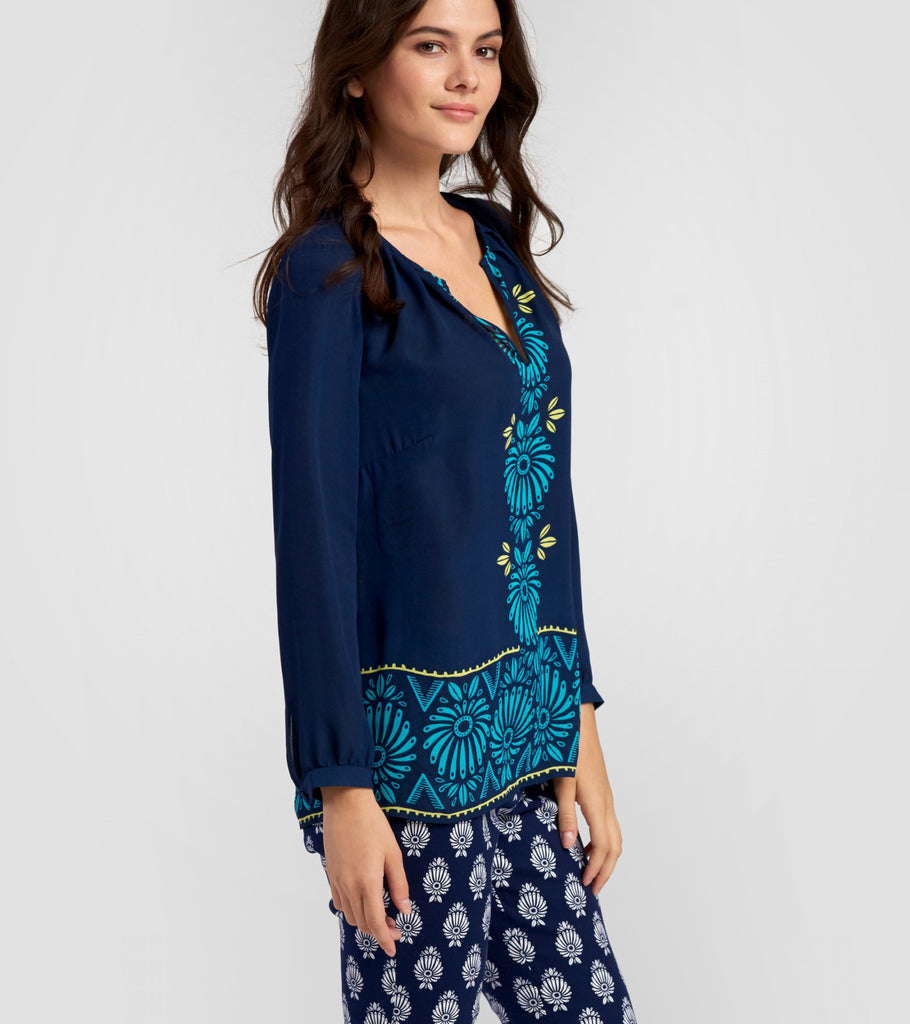 Hatley Long Sleeve Navy Floral Blouse - Ship Chic