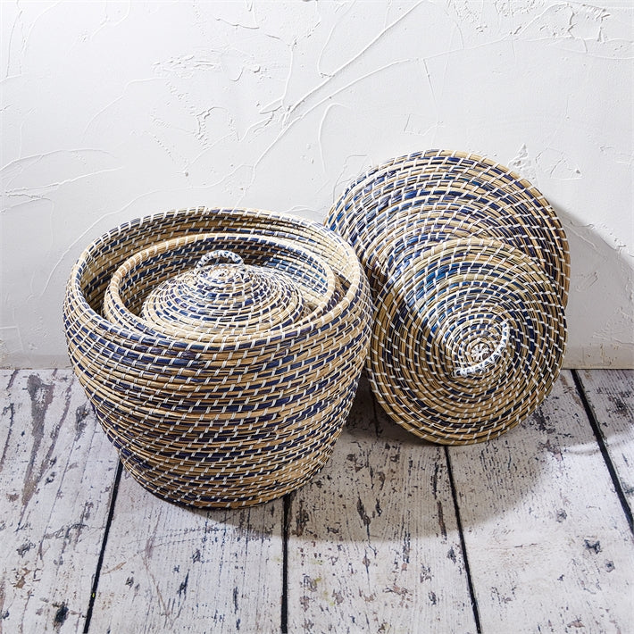 Two's Company Extra Large Lidded Baskets in Blue/Natural - Seagrass/Plastic - Ship Chic
