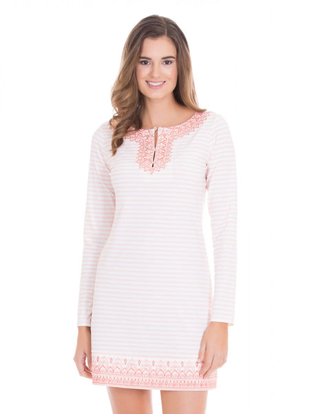Coral Ticking Stripe Embroidered Cover Up