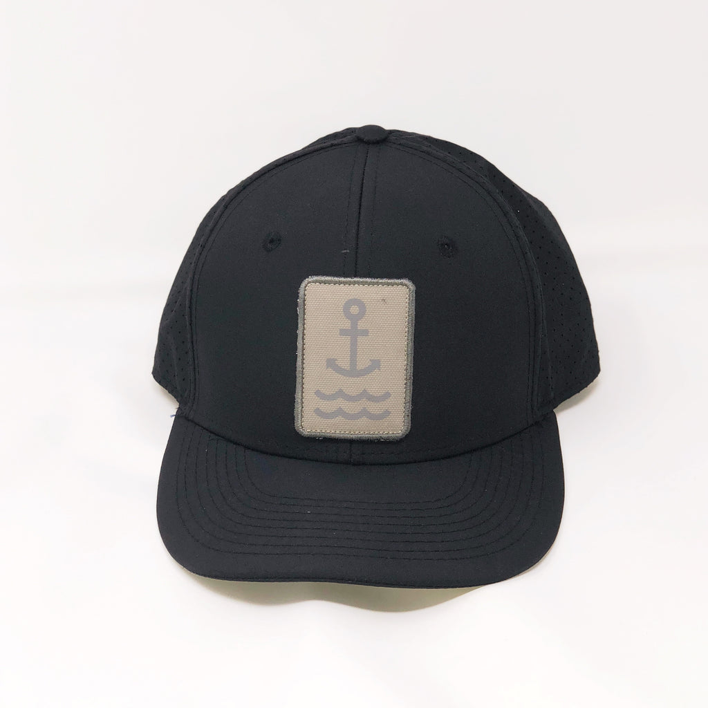Ship Chic Ship Chic Black Performance Snap Back Flatbill Khaki Logo - Ship Chic