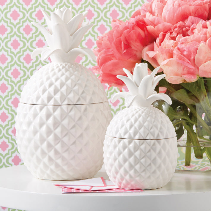 Two's Company Ceramic Pineapple Hospitality Jars with Lid Includes Small or Large (food safe) - Ceramic - Ship Chic