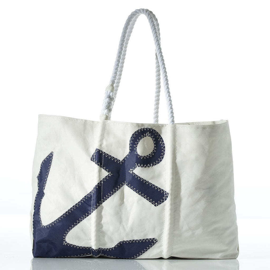 Seabags Large Navy Zip Top Anchor Tote w/ Navy handle - Ship Chic