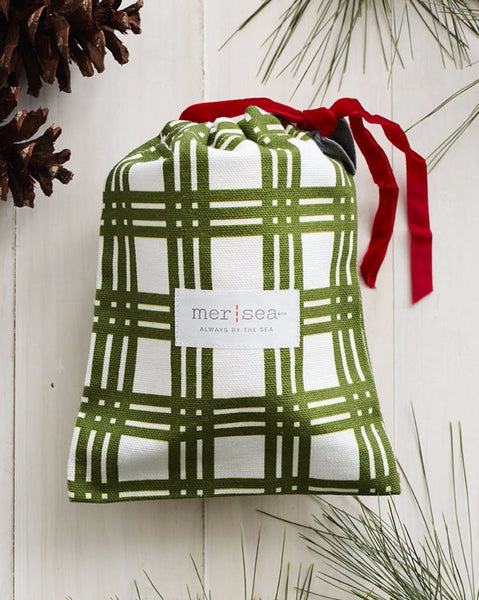 Mer-Sea 10 oz. Holiday Sea Pines Large Sandbag Candle w/ Plaid Bag - Ship Chic