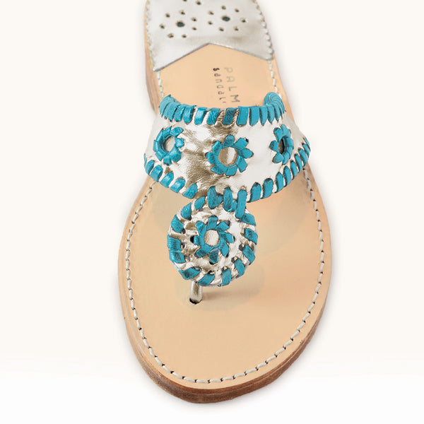 Palm Beach Sandals Classic Pale Gold/Emerald Blue - Ship Chic