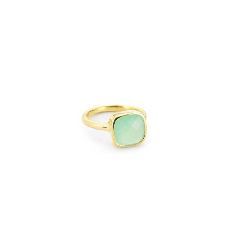 Margaret Elizabeth Cushion Cut Ring Aqua Chalcedony - Ship Chic