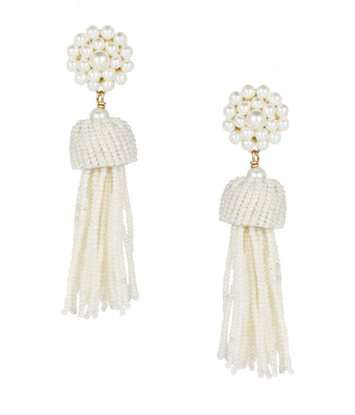 Tassel Earrings- Pearl