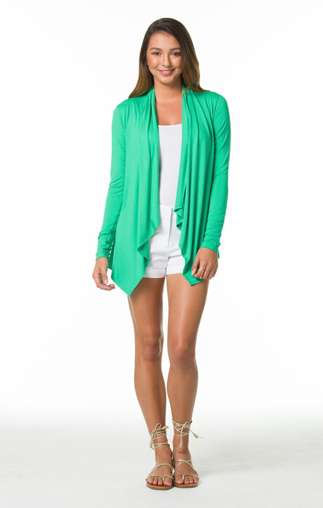 Tori Richard Surfside Solids Beachside Cardigan - Jade - Ship Chic