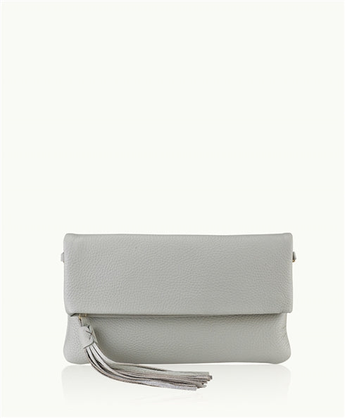 Stella Fold-Over Clutch in Grey