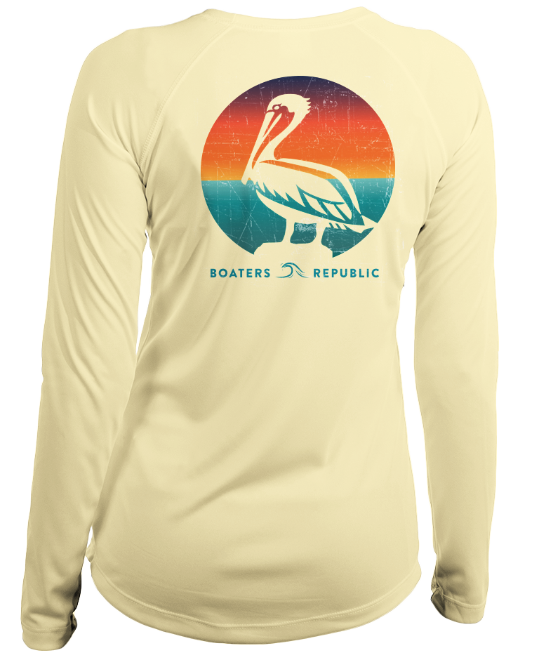 Boaters Republic Ladies Sunset Pelican - L/S Performance Yellow - Ship Chic