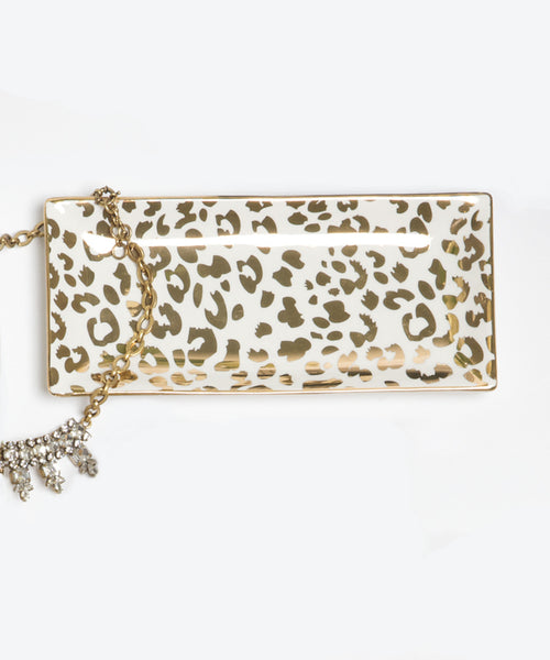 Rectangle Tray Gold Leopard