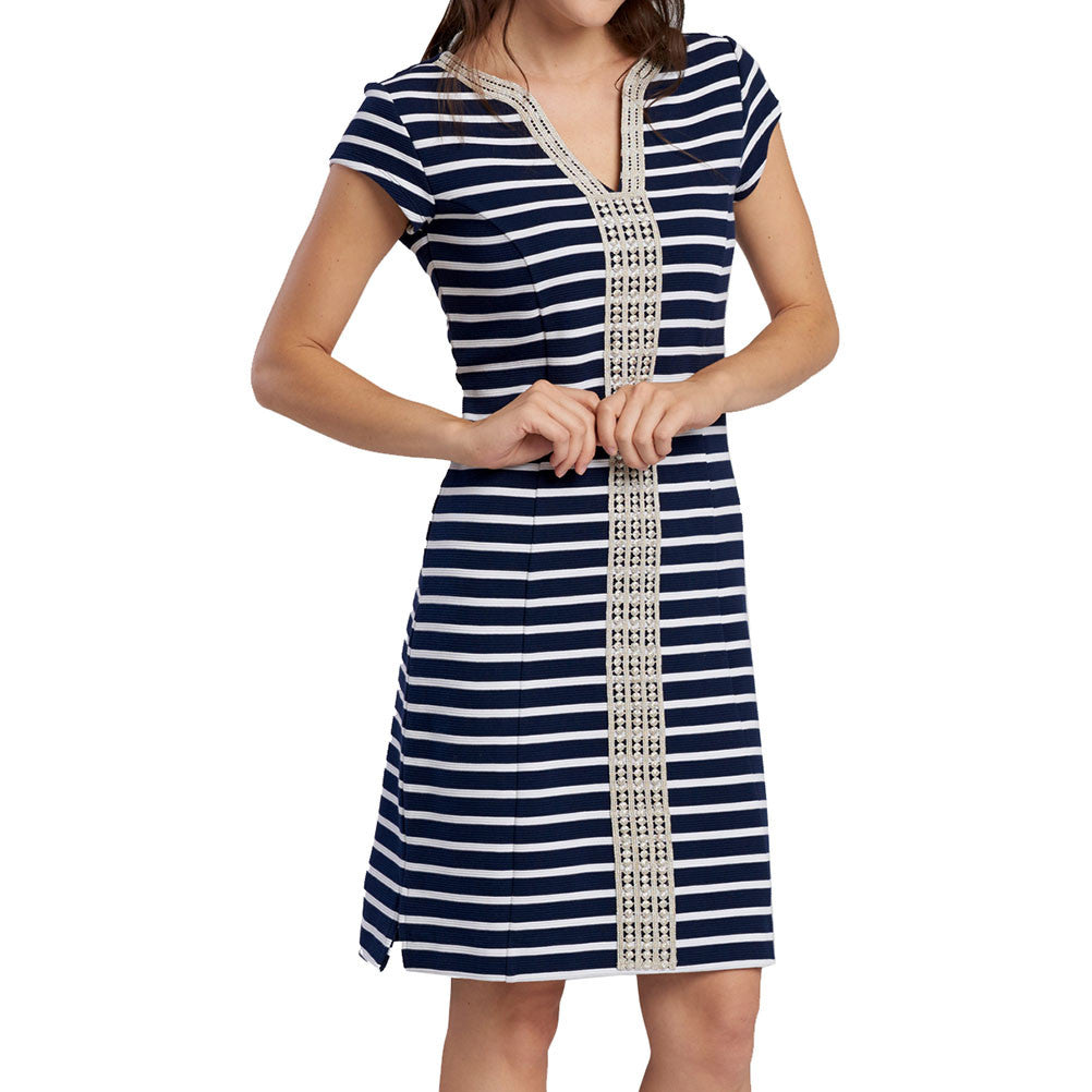 Hatley Ponte Dress - Navy/White Stripe - Ship Chic