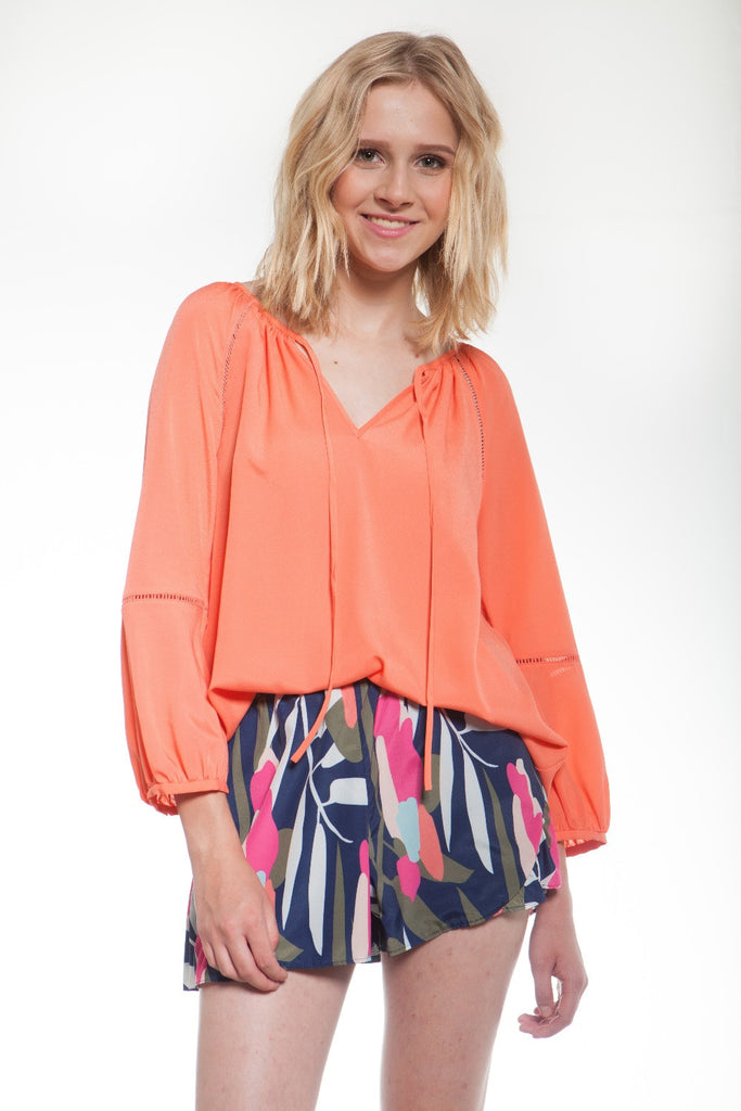 CROSBY by Mollie Burch Lecos Blouse Papaya - Ship Chic