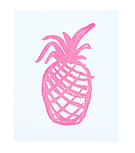 Thimblepress Pineapple Pink Letterpress Print 8x10 - Ship Chic