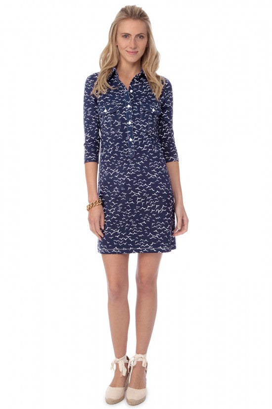 Persifor Winpenny Dress- Seagull in Admiral Blue - Ship Chic