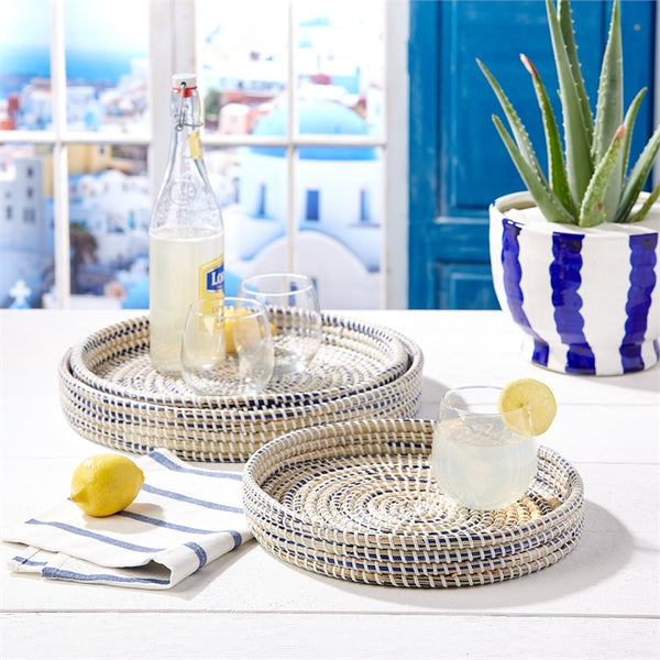 Two's Company Nested Woven Tray Large - Ship Chic