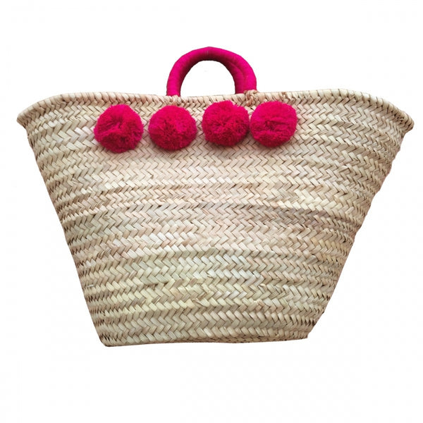 Ship Chic Paradise Island Beach Tote - Fuchsia Poms - Ship Chic