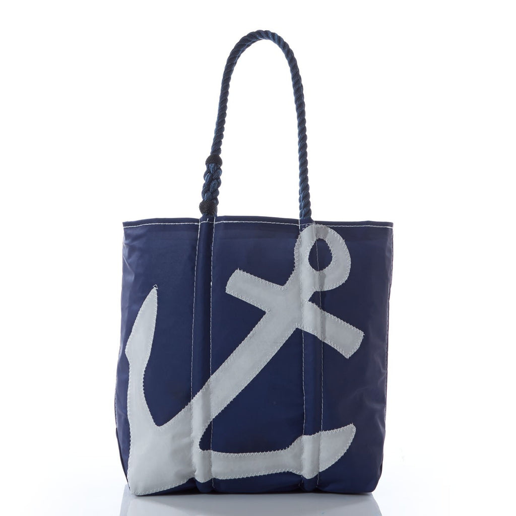 Seabags Medium Tote White on Navy Anchor Navy Handle - Ship Chic
