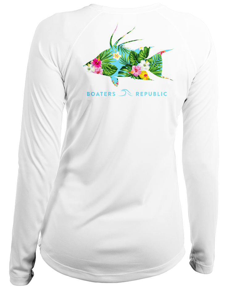 Boaters Republic Ladies Tropical Hogfish L/S- Performance White - Ship Chic