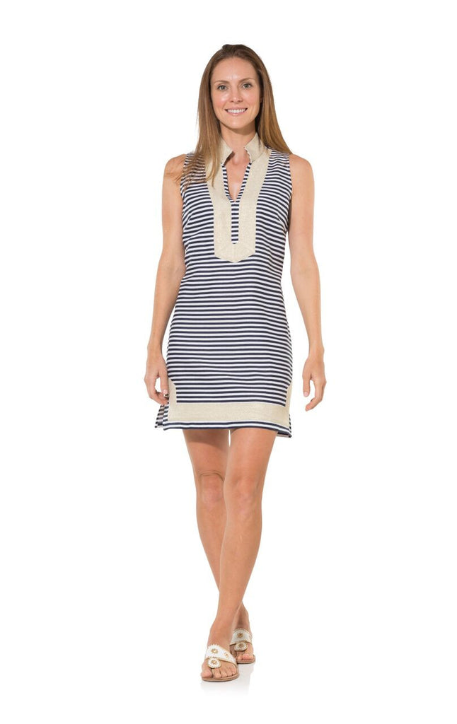 Sail to Sable Classic Stripe Sleeveless Linen Tunic Dress - Ship Chic