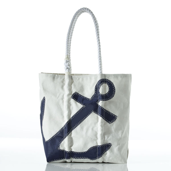 Seabags Small Navy Anchor on White Tote - Ship Chic