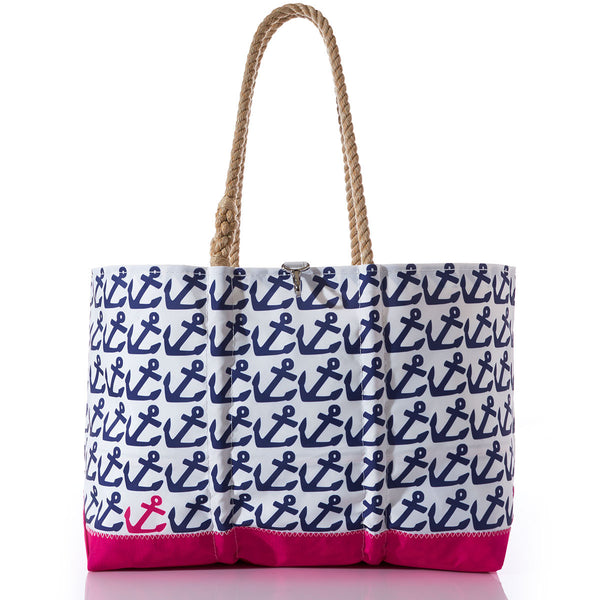 Seabags Fuchsia Anchor Pop Ogunquit Beach Tote - Ship Chic