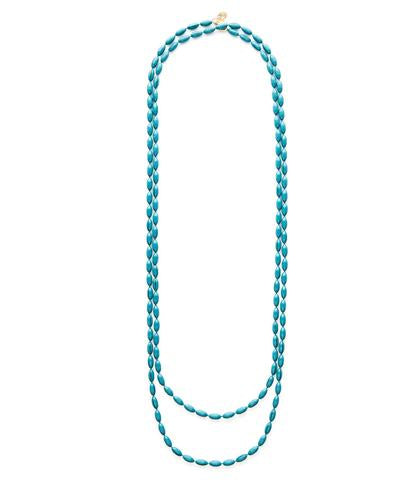 Candy Shop Vintage Charleston Rice Bead Necklace  Teal - Ship Chic
