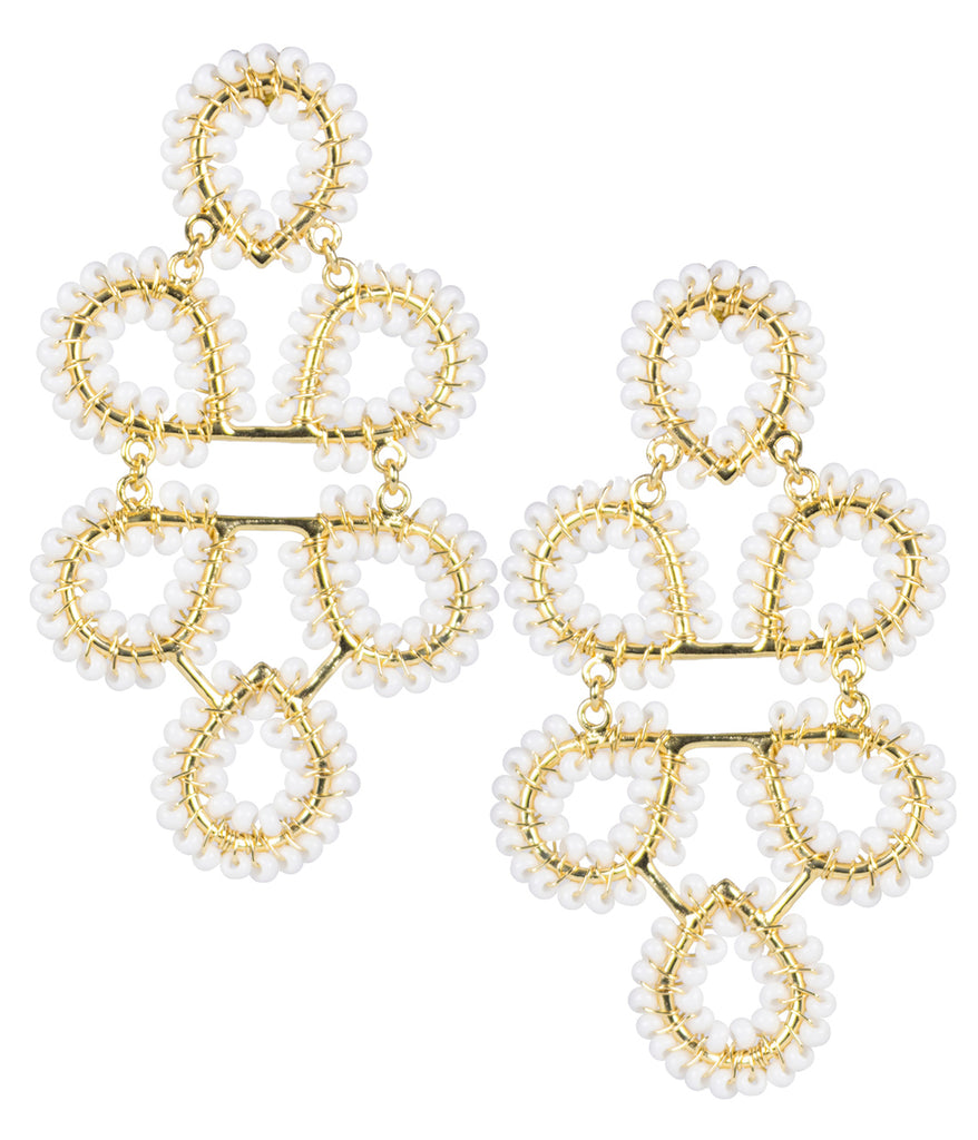 Lisi Lerch Beaded Ginger Earrings White - Ship Chic