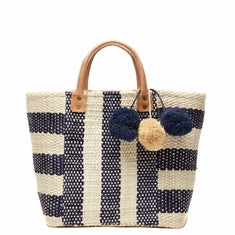 Mar Y Sol Collins Striped Basket Tote in Navy - Ship Chic