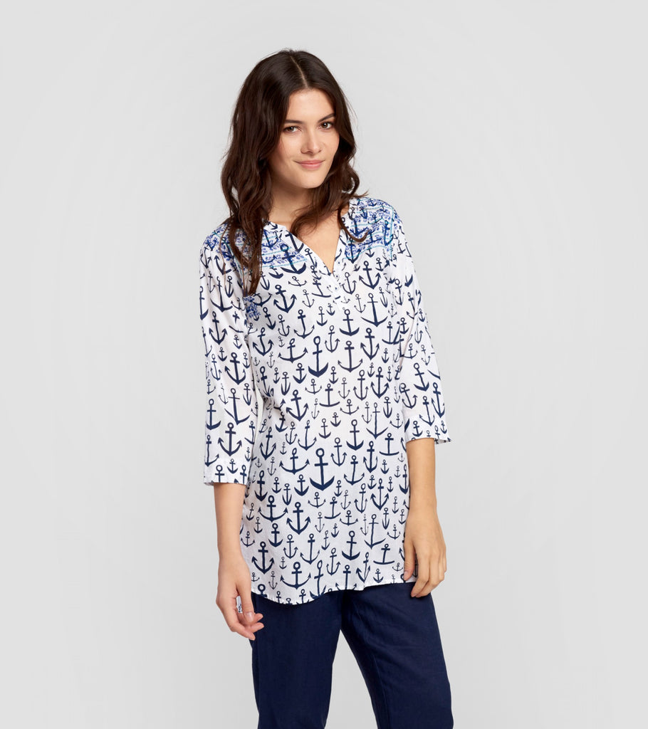 Hatley Embroidered Anchors Tunic - Ship Chic