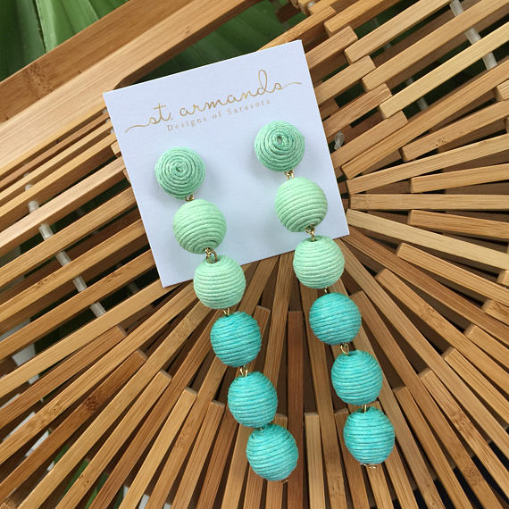 St. Armands Designs Caicos: Long Bon Bon Earrings - Turquoise - Ship Chic