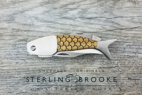 Sterling Brooke Custom Personalized Engraved Wood Fish FOLDING POCKET KNIFE (Scales) - Ship Chic