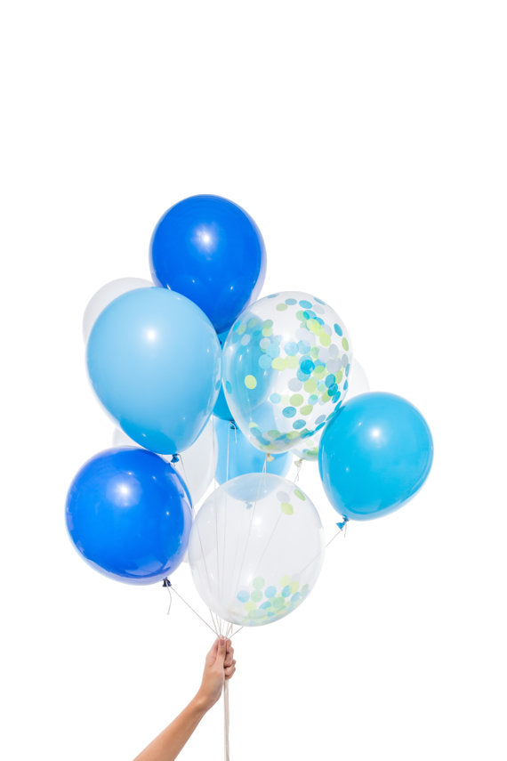 Party Balloons: 12 Blue Mix