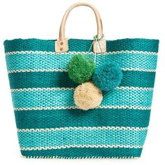 Mar Y Sol Capri Striped Basket Tote in Aqua/Green - Ship Chic