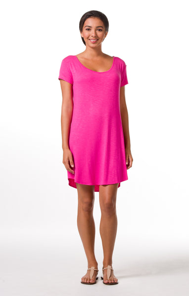 Tori Richard Oceanside Solids Daisy Dress - Raspberry - Ship Chic