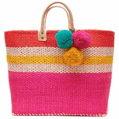 Mar Y Sol Hana Colorblocked Basket Tote in Pink/Mango - Ship Chic