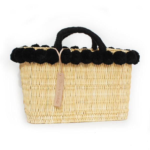 Ship Chic Abaco Island Basket - Black Pom - Ship Chic