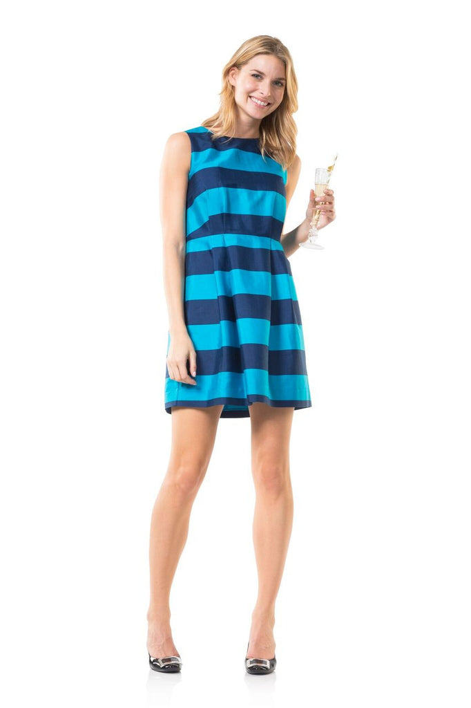 Sail to Sable Stripes on Second Navy/Aqua Flare Dress - Ship Chic