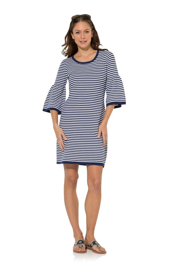 Sail to Sable The Striped Bell Sleeve Cotton Dress - Ship Chic