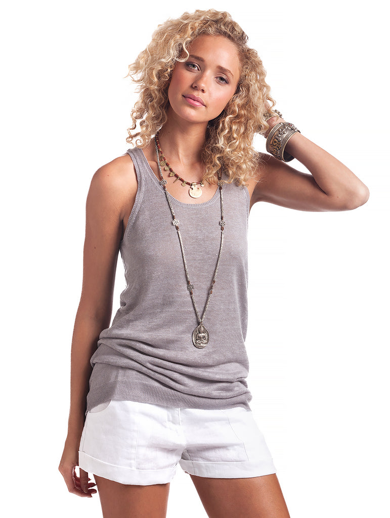 Island Company Women's Linen Knit Tank Dark Cloud - Ship Chic