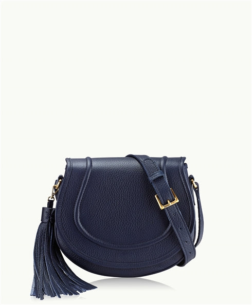 GiGi New York Jenni Saddle Bag in Navy Pebble Leather - Ship Chic