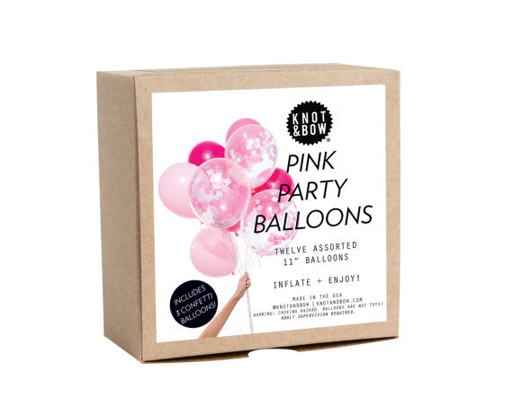 Knot & Bow Party Balloons: 12 Pink Mix - Ship Chic