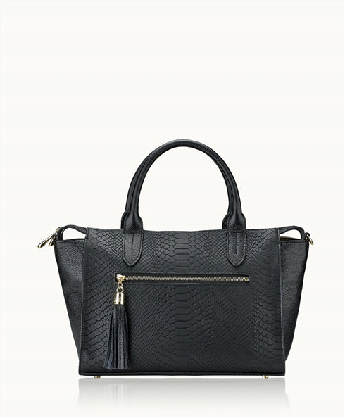 GiGi New York Grace Satchel in Black Python - Ship Chic