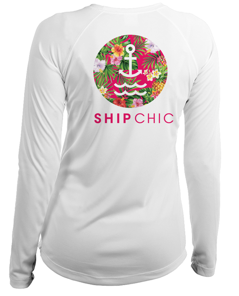 Ladies Ship Chic Tropical Logo L/S - Performance White