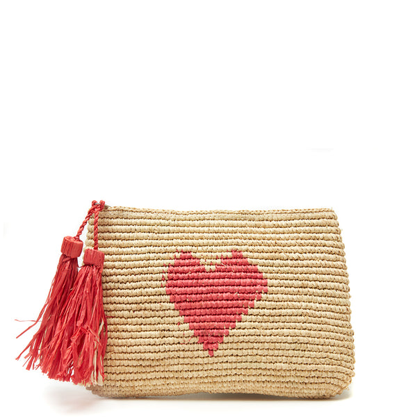Carrie Heart Clutch in Coral