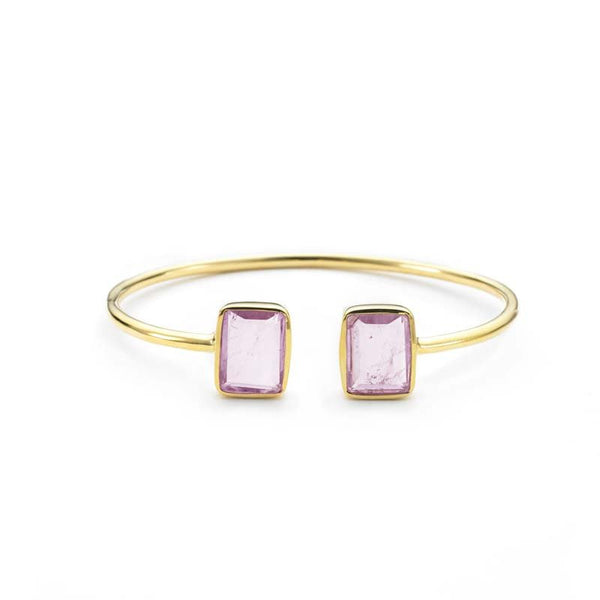 Emerald 2 Stone Bangle Pink Amethyst