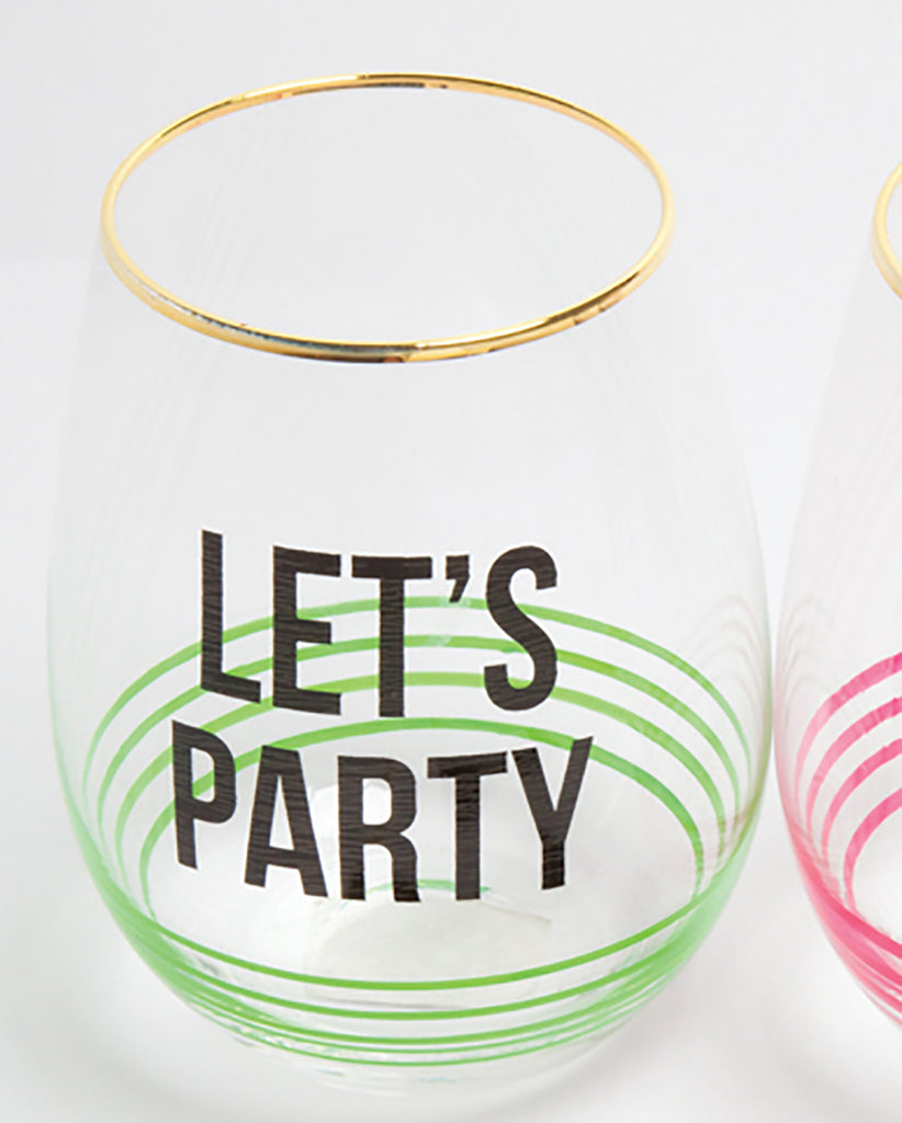 8 Oak Lane Stemless Wine Glasses - Lets Party - Ship Chic