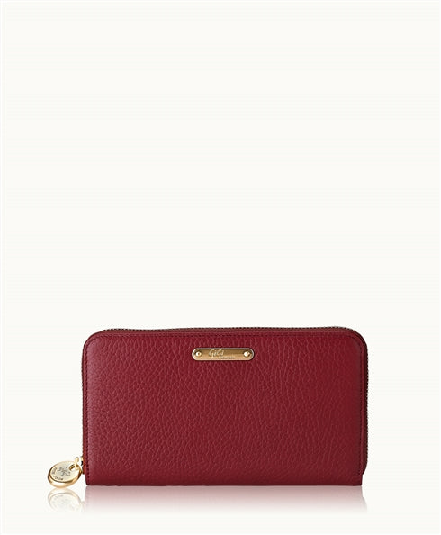 GiGi New York Large Zip Around Wallet in Crimson - Ship Chic