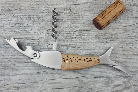 Sterling Brooke Custom Personalized Engraved Wood Fish Corkscrew Wine Key Bottle Opener (TROUT) - Ship Chic