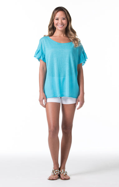 Santorini Marie Top - Pacific Blue