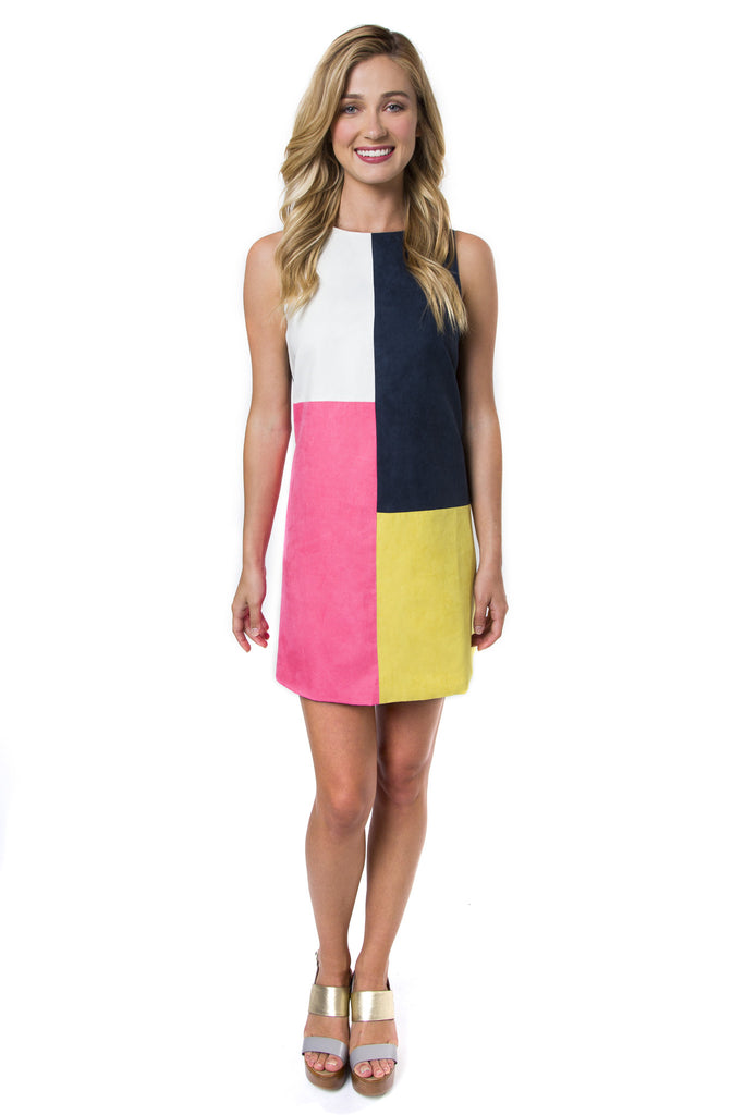 Julie Brown NYC Leah Suede Colorblock Dress - Ship Chic
